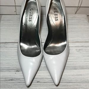 Guess White Pointed Wooden Heels